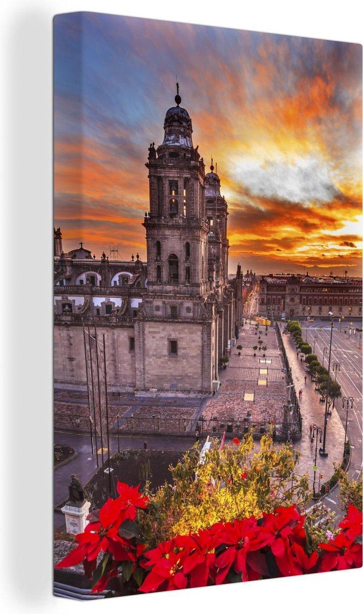 Kleurrijke foto van de lucht boven Mexico-stad Canvas 20x30 cm - klein - Foto print op Canvas schilderij (Wanddecoratie woonkamer / slaapkamer)