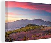 Kleurrijke lucht boven het Nationaal park Caldera de Taburiente in Spanje Canvas 90x60 cm - Foto print op Canvas schilderij (Wanddecoratie woonkamer / slaapkamer)