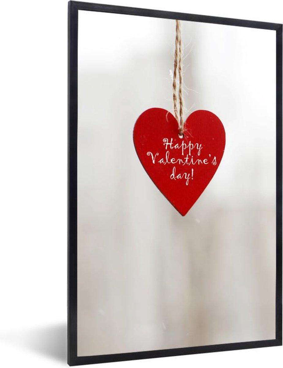 Poster met lijst Valentijn - Een hartje met de tekst happy valentines day voor valentijn fotolijst zwart - fotolijst zwart - 20x30 cm - Poster met lijst