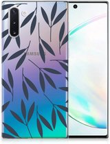 Back Case Samsung Note 10 TPU Siliconen Hoesje Leaves Blue