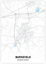 Barneveld plattegrond - A4 poster - Zwart blauwe stijl