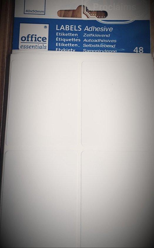 Afbeelding van Office Essentials etiketten / labels - 48 stuks - 40 x 50 mm