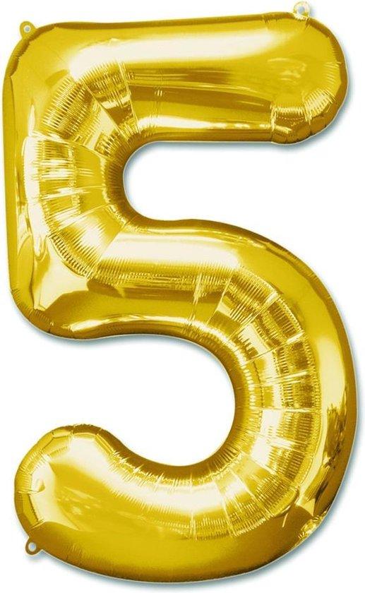 Folie ballon -  cijfer 5  -goud - 92 cm leeg