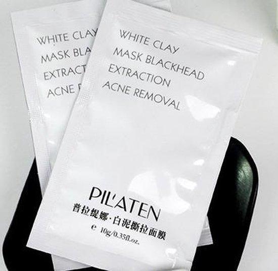 20 sachets Pilaten White Clay Peel-Off Mask - Gezichts reinigend klei masker tegen acne, mee-eters & puistjes