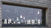 59 delig Voordeelset raamsticker herbruikbaar kerst wintertafereel 2 & basisset 2 wit | Rosami