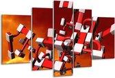 Glasschilderij Modern   Rood, Zwart, Wit   170x100cm 5Luik   Foto print op Glas    F004318