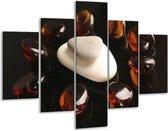 Glasschilderij Spa | Bruin, Zwart, Wit | 100x70cm 5Luik | Foto print op Glas |  F004959