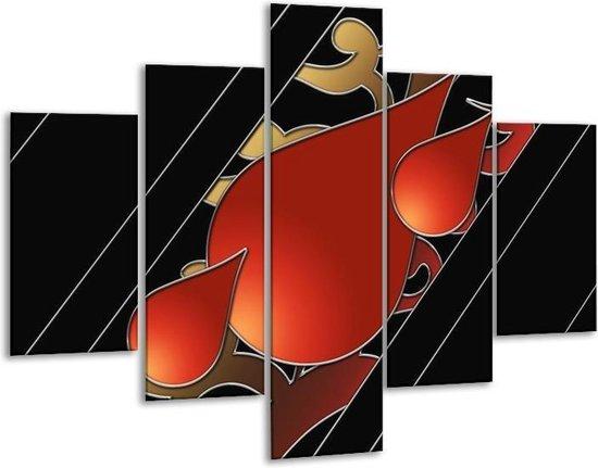 Glasschilderij Art   Rood, Zwart   100x70cm 5Luik   Foto print op Glas    F005697