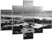 Glas schilderij Zee, Strand | Zwart, Grijs | 100x70cm 5Luik | Foto print op Glas |  F006426