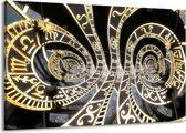 Canvas schilderij Abstract   Zwart, Goud, Wit   140x90cm 1Luik