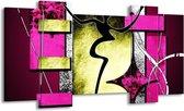 Canvas schilderij Abstract | Paars, Groen, Wit | 120x65 5Luik