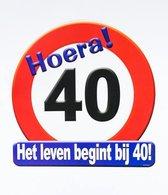 Hulde stopbord decoratie 40 jaar - verjaardag - cadeau/versiering