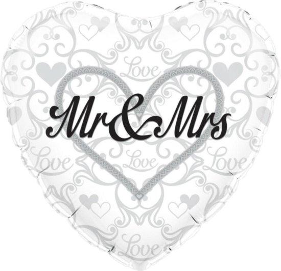 Folieballon - Huwelijk - Mr & Mrs - 45cm - Zonder vulling