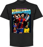 Ronaldinho Old-Skool Hero T-Shirt - Zwart - L