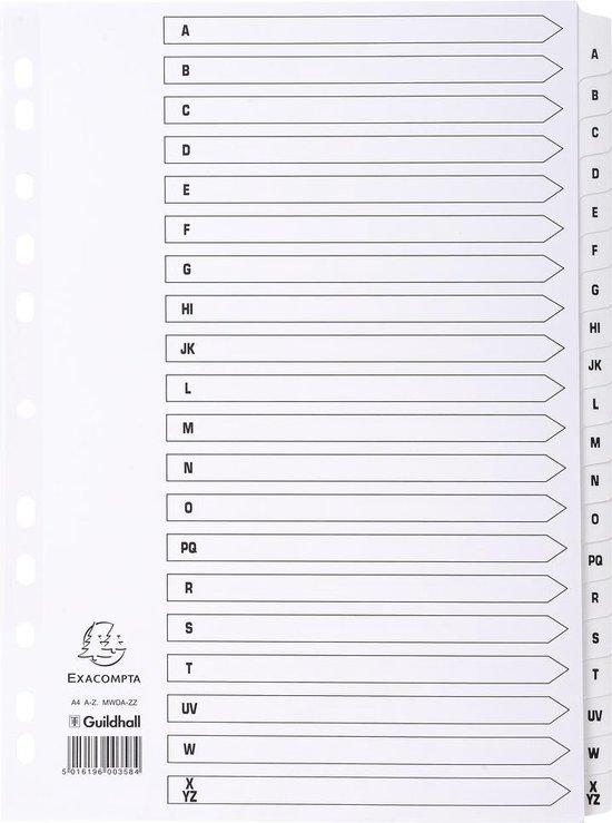 10x Bedrukte tabbladen karton 160g - geplastificeerde tabs - 20 tabs - A tot Z - A4, Wit
