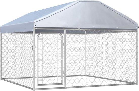 Hondenkennel voor buiten - Staal en stof - Zilver - 200 x 200 x 100/135 cm