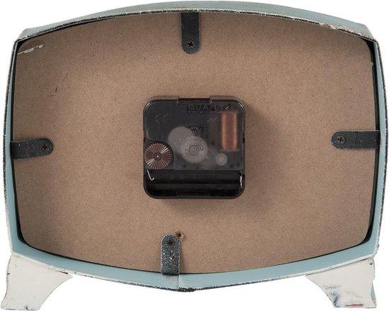 Clayre & Eef Tafelklok 6KL0452 21*6*17 cm / 1xAA - Blauw Hout / metaal  Tafelklokken Binnen  Staand Klokje  Tafelklokje - Clayre & Eef