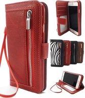 Apple iPhone SE 2020 Rode Wallet / Book Case / Boekhoesje/ Telefoonhoesje / Hoesje met pasjesflip en rits voor kleingeld  SE 2020, dus geschikt voor de nieuwe iPhone SE 2020