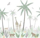 ESTAhome fotobehang jungle dieren groen, grijs en bruin - 158928