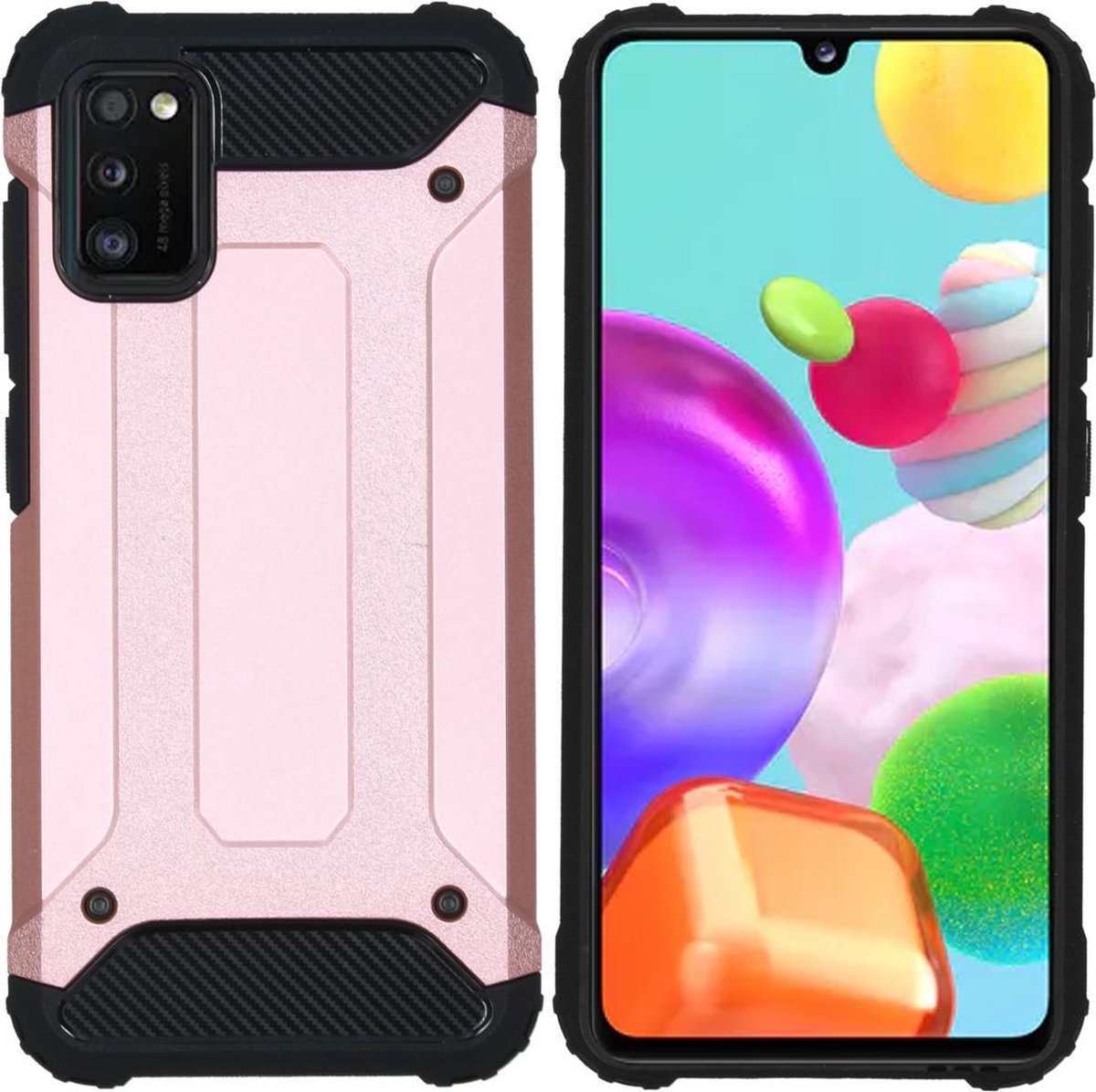 Afbeelding van product iMoshion Rugged Xtreme Backcover Samsung Galaxy A41 hoesje - Rosé Goud