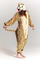 KIMU Onesie cheetah pak luipaard panter kostuum - maat L-XL - panterpak jumpsuit huispak