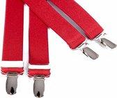 Smalle rode bretels - Maat: 120 cm