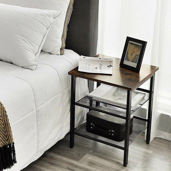 Set van 2 houten nachtkastjes - bruin / zwart