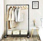 MIRA Home - Kledingrek op wieltjes - Kledingrek metaal - Zwart - 100x49x163