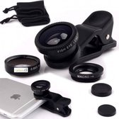 DrPhone - PiX Series HD Clip Lens - 3-in-1 Fish Eye Lens - Zwart