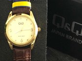 Q&Q Dames horloge QB43J103 Goudkleurig met bruin lederen band