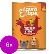 Edgard & Cooper Kip & Kalkoen Blik - Voor volwassen honden - Hondenvoer - 6 x 400 g