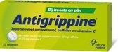 Antigrippine tabletten met paracetamol - Bij koorts en pijn bij griep en verkoudheid - 20 tabletten