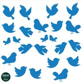 Vogelplakkers Twitter 23 vogel raamstickers kobaltblauw