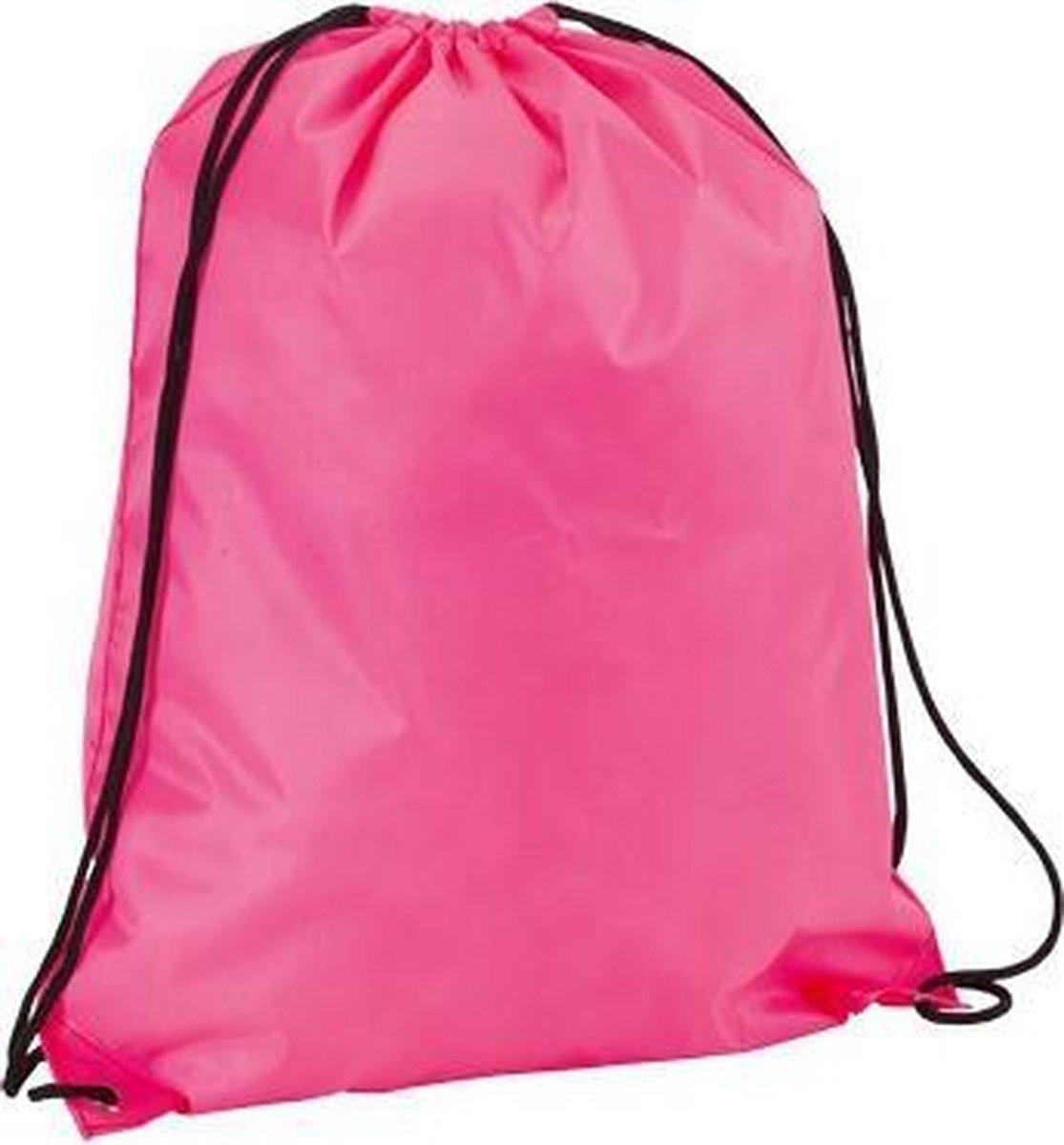 Neon roze gymtas met rijgkoord - Merkloos