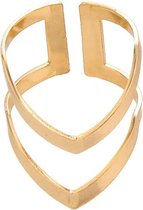 24/7 Jewelry Collection V Vorm Ring Verstelbaar - Dubbel - Verstelbare Ring - Goudkleurig