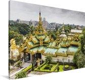 Luchtfoto van de Schwedagonpagode bij Myanmar Canvas 140x90 cm - Foto print op Canvas schilderij (Wanddecoratie woonkamer / slaapkamer)