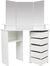 Hoek kaptafel make up visagie opmaaktafel met 3 spiegels veel opbergruimte 111 cm x 142 cm wit