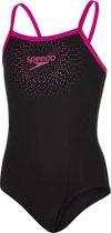 Speedo Gala Logo Muscleback Meisjes Badpak  - Zwart/Roze  - Maat 152
