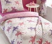 1 persoons meisjesdekbedovertrek roze en paarse eenhoorns / unicorns