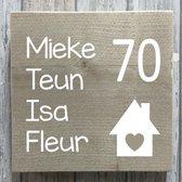 Naambordje voordeur steigerhout | houten naambord 20x20 cm