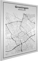 Stadskaart klein - Groningen Aluminium wit 30x40 cm - Plattegrond