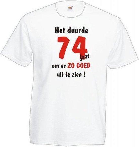 Mijncadeautje Heren leeftijd T-shirt Wit maat XXL Het duurde 74 jaar om er zo goed uit te zien