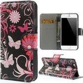 iPhone 6 6s Hoesje Case Butterfly Zwart