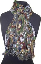 Dames sjaal - gekreukt katoen - groen - okergeel - bruin - crème - grijs - 35 x 180 cm