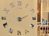 3D Zilveren wandklok met Griekse Cijfers LW Collection / Zilveren Design Muurklok / Sticker 3D klok met Griekse cijfers / Doe het zelf klok DIY met Plak stickers / Stickers Wandklok