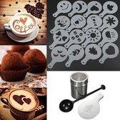 RVS Cappuccino Set / Cacao Strooier / Koffie  Sjablonen Barista Tools