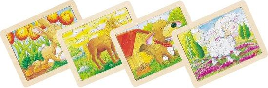 Afbeelding van het spel Houten Puzzels Dieren, set van 6