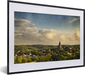 Foto in lijst - Uitzicht over de Duitse stad Wuppertal fotolijst zwart met witte passe-partout klein 40x30 cm - Poster in lijst (Wanddecoratie woonkamer / slaapkamer)