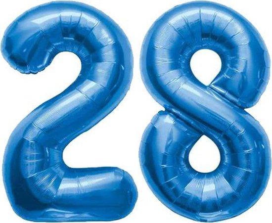 Cijfer 28 Blauw Helium 86 cm Excl. Helium