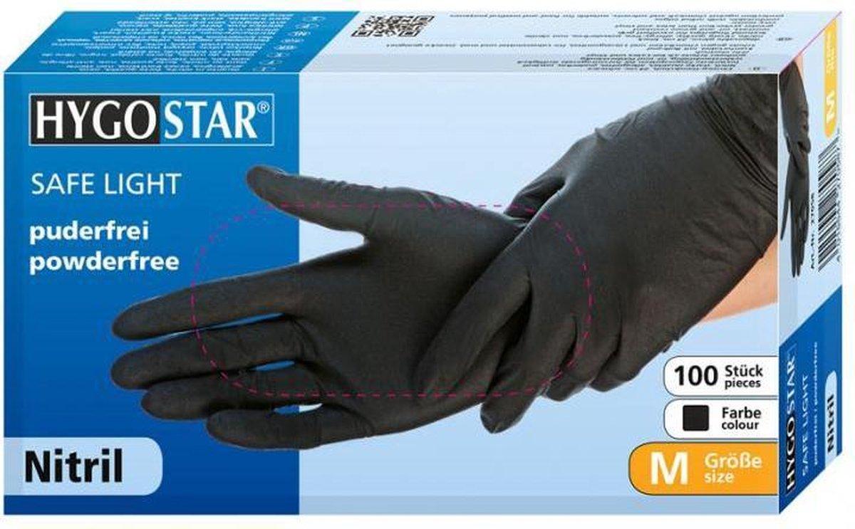 Hygostar wegwerp handschoenen nitril poedervrij zwart maat S - 100 stuks